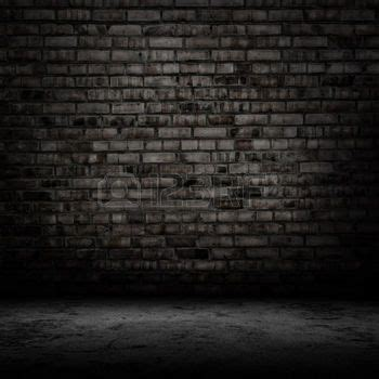grunge: Dark room with tile floor and brick wall