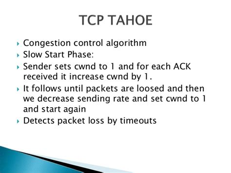 Analysis of TCP variants