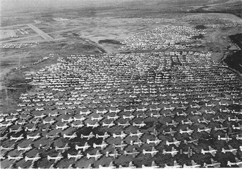 Aerial view of B-17 Flying Fortresses in storage at Walnut