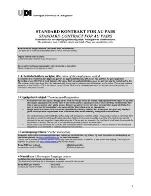 Standard Au Pair Contract Norway - Fill Online, Printable